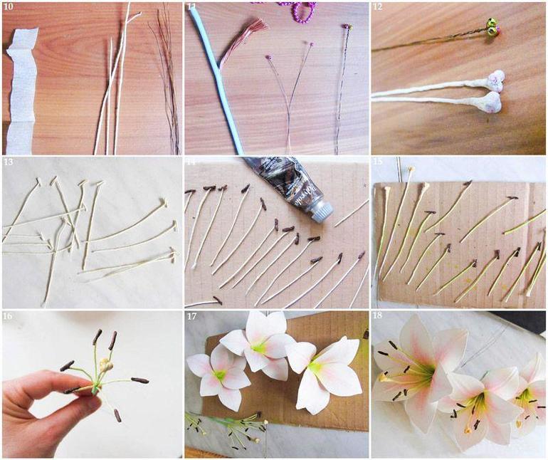 Маленькие цветы из гофрированной бумаги для открытки, дизайна картинки