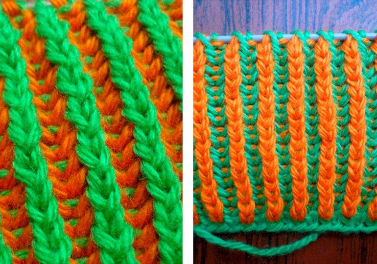 Двухцветная английская резинка Схемы вязания английской резинки