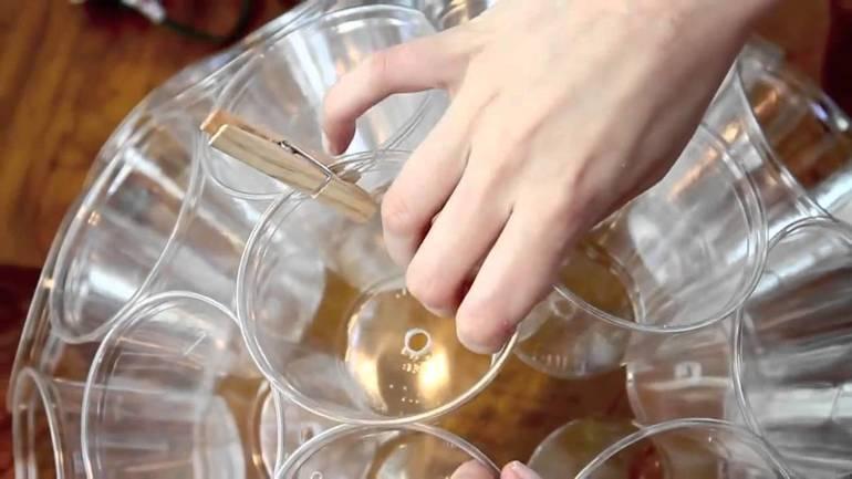Изготовление шара из стаканчиков