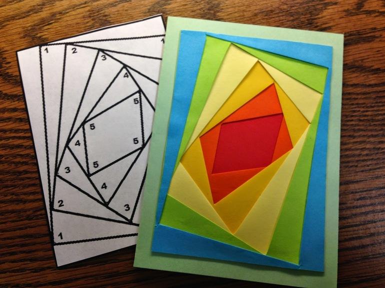радужное складывание открытки