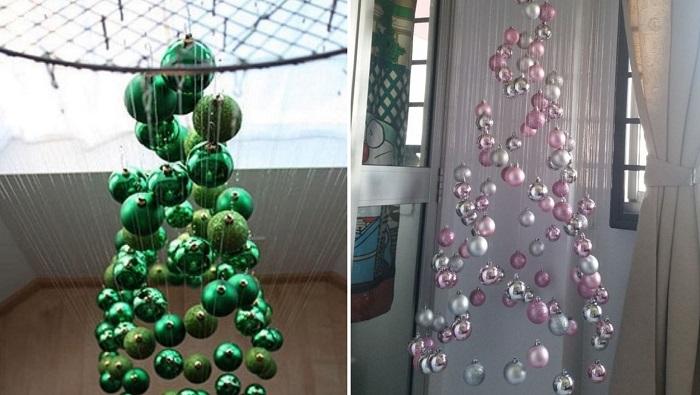 Подборка идей оригинальных елок из елочных игрушек